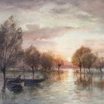 Inondations au soleil couchant