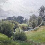 Paysage aux arbres lacustres - Aquarelle de Henri Zuber