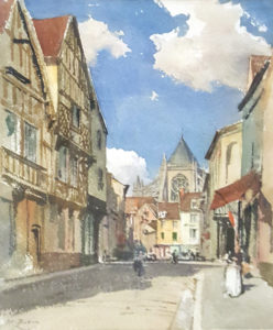 Saint Etienne vu de la rue de la manufacture. Beauvais.