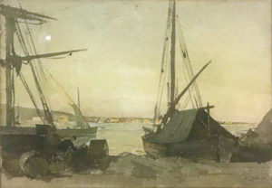 Marine, aquarelle de Henri Zuber